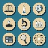 Plana symboler för kemi vektor illustrationer
