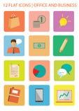 Plana symboler för kontor vektor illustrationer