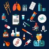 Plana symboler för läkarundersökning med läkarbehandlingen och diagnostik stock illustrationer