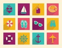 Plana symboler för lopp och för semester Arkivfoton