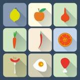 Plana symboler för mat Royaltyfri Bild
