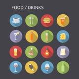 Plana symboler för mat och drinkar stock illustrationer