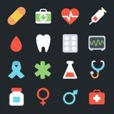 Plana symboler för medicin vektor illustrationer