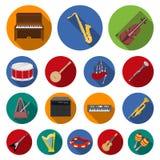Plana symboler för musikinstrument i uppsättningsamlingen för design Rengöringsduk för materiel för rad- och blåsinstrumentvektor stock illustrationer