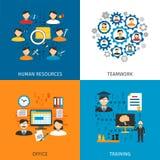 Plana symboler för personalresursbegrepp 4 Arkivfoton