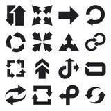 Plana symboler för pil. Svart Royaltyfria Bilder