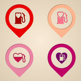 Plana symboler för pump för hjärtabränslebehållare Arkivbild