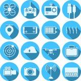 Plana symboler för quadrocopteruppsättning royaltyfria bilder