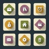 Plana symboler för rengöringsduk och mobil Arkivbild