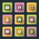 Plana symboler för rengöringsduk och mobil Royaltyfri Fotografi