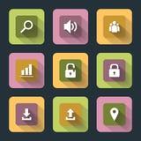 Plana symboler för rengöringsduk och mobil Arkivfoto