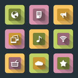 Plana symboler för rengöringsduk och mobil Royaltyfria Foton