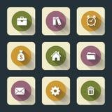 Plana symboler för rengöringsduk och mobil Arkivfoton