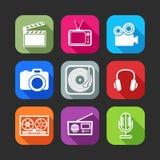 Plana symboler för rengöringsduk- och mobilapplikationer med idérika branschobjekt Arkivfoto