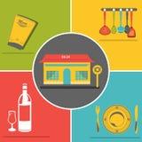 plana symboler för restaurang Fotografering för Bildbyråer