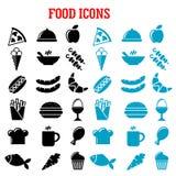 Plana symboler för restaurang och för snabbmat Arkivbild