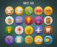 Plana symboler för runda med lång skuggauppsättning 13 Arkivfoto