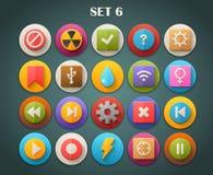 Plana symboler för runda med lång skuggauppsättning 6 Arkivfoton