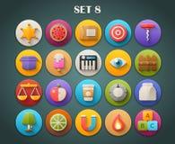 Plana symboler för runda med lång skuggauppsättning 8 Fotografering för Bildbyråer