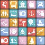 Plana symboler för samling med lång skugga. Resor Royaltyfria Bilder