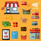 Plana symboler för shoppa och för detaljhandel vektor illustrationer