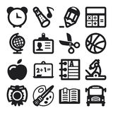 Plana symboler för skola. Svart Arkivfoto