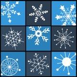 Plana symboler för snöflinga för rengöringsduk och mobil Arkivfoto