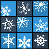 Plana symboler för snöflinga för rengöringsduk och mobil Royaltyfri Foto