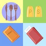 Plana symboler för stänger och restauranger Stock Illustrationer