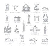 Plana symboler för stad royaltyfri illustrationer