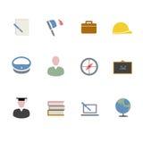 Plana symboler för studie royaltyfria bilder