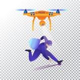 Plana symboler för surr eller för quadcopter Flygplan och brottsling för polisen obemannat Vektorillustration på en genomskinlig  stock illustrationer