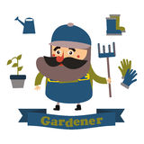 Plana symboler för trädgårdsmästare i format vektor illustrationer