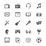 Plana symboler för underhållning Arkivfoton