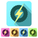Plana symboler för uppsättning av det runda hjulet med blixt eco Arkivbilder