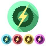 Plana symboler för uppsättning av det runda hjulet med blixt eco Arkivfoton