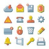 Plana symboler för uppsättning av rengöringsduken, massmedia och affären Royaltyfri Foto
