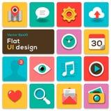 Plana symboler för uppsättning för UI-designtrend Arkivbilder