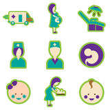 Plana symboler för uppsättning med lång skuggahavandeskap och Royaltyfri Foto