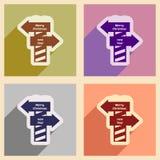 Plana symboler för uppsättning med nytt år för lång skuggapekarejul vektor illustrationer
