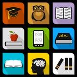Plana symboler för utbildning Arkivbild