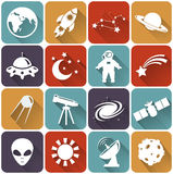 Plana symboler för utrymme och för astronomi. Vektoruppsättning. Fotografering för Bildbyråer
