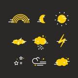 Plana symboler för väder Arkivbilder