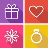 Plana symboler för valentindag eller bröllop Royaltyfria Bilder