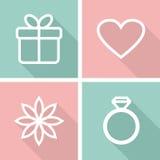 Plana symboler för valentindag eller bröllopdesign Royaltyfri Foto