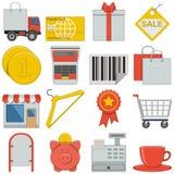 Plana symboler för vektor - detaljhandel vektor illustrationer