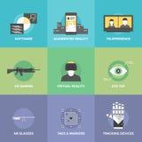 Plana symboler för virtuell verklighet Arkivfoto