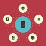 Plana symboler förstärkare, mikroprocessor, systemenhet och andra vektorbeståndsdelar Royaltyfri Fotografi