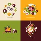 Plana symboler för designbegrepp för organisk mat Arkivbilder