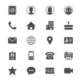 Plana symboler för kontakt Arkivbild